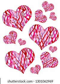 Red, pink, purple and white striped patterned valentine hearts in different sizes.