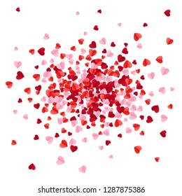 Red pink and rose scatter paper hearts confetti. illustration isolated on white background