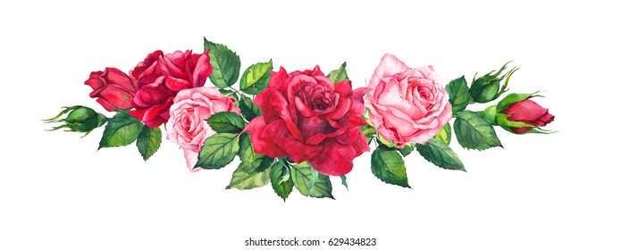 Red and pink roses - floral border. Watercolor