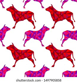 Red, pink and violet oxen cows geometric outline looking right and left. Animal geometric triangle outline seamless pattern on white background . Concepts: chinese new year, rat, mouse, polygon