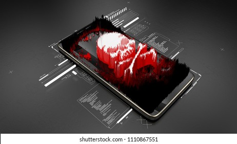 Red pirate skull on smartphone screen, mobile hacking, system breach, virus. 3D illustration