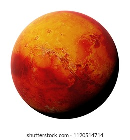 the red planet Mars isolated on white background, part of the solar system (3d space render, elements of this image are furnished by NASA)