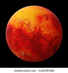 the red planet Mars isolated on black background, part of the solar system (3d space render, elements of this image are furnished by NASA)