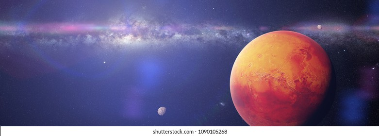the red planet Mars with it moons Phobos and Deimos, part of the Milky Way galaxy (3d space illustration banner, elements of this image are furnished by NASA)