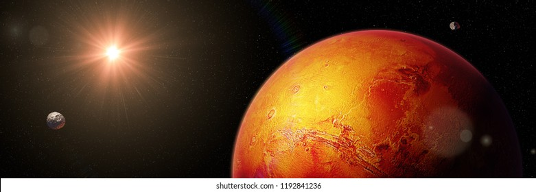 red planet Mars with moons Phobos and Deimos, part of the solar system (3d space illustration banner, elements of this image are furnished by NASA)