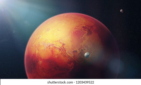 the red planet Mars with moons Phobos and Deimos (3d space illustration, elements of this image are furnished by NASA)
