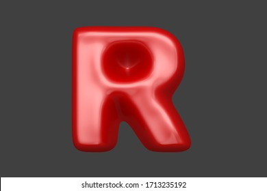 Red plastic alphabet - letter R isolated on grey background, 3D illustration of symbols