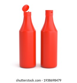Red plastic bottle of tomato ketchup open and closed cap isolated for label design 3d render