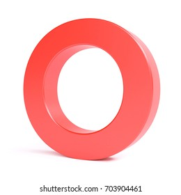 Red plastic letter O. Collection. 3d image