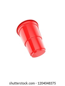 Red plastic party cup, isolated on white background. 3d illustration