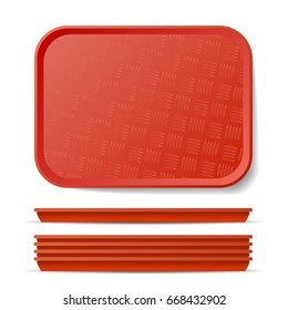 Red Plastic Tray Salver. Classic Rectangular Red Plastic Tray, Plate With Handles. Top View. Restaurant, Fast Food, Kitchen Close Up Tray Isolated