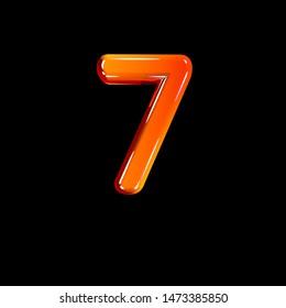 Red polished plastic alphabet - number 7 isolated on black, 3D illustration of symbols