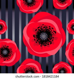 Red poppies on a dark seamless background with vertical stripes. Suitable for various fabrics, paper, tableware and clothing.