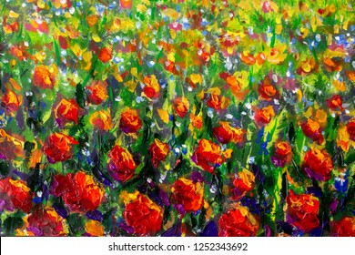 Red poppies tulips rose Flowers in green grass palette knife paintings background monet painting claude impressionism paint landscape flower meadow oil illustration