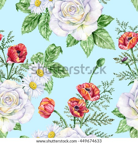 Red Poppies White Rose Daisies Garden Stock Illustration Royalty