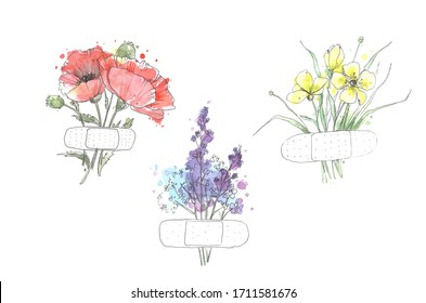 Red poppies, yellow flowers and lavender with patches painted by watercolor isolated on white