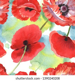 Red poppy botanical flowers. Wild spring leaf wildflower. Watercolor illustration set. Watercolour drawing fashion aquarelle isolated. Seamless background pattern. Fabric wallpaper print texture.