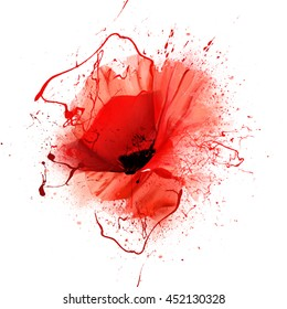 red poppy closeup isolated on white background with spray paint