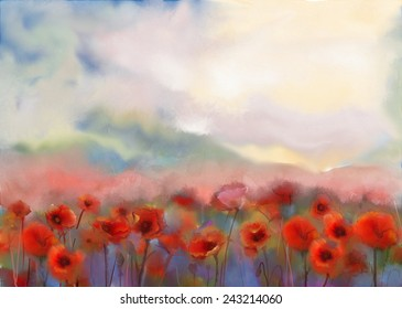 Red poppy flowers filed  watercolor painting