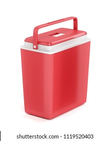Red portable refrigerator on white background, 3D illustration