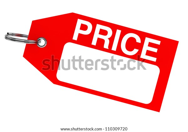 Red price tag with blank space on the white background