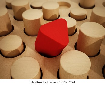 Red prism wooden block standing out among wooden cylinders. 3D illustration.