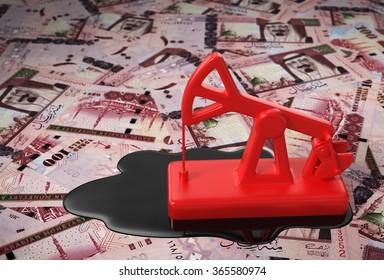 Red Pumpjack And Spilled Oil On Saudi Riyals. 3D Scene.