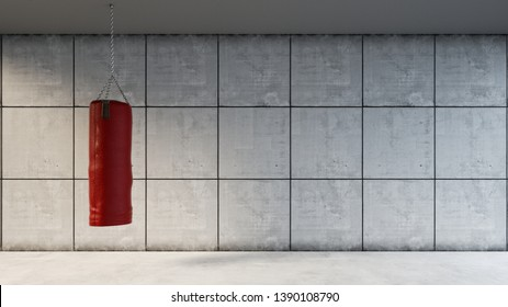Red punching bag hangs in the gym in front of a concrete wall (3d rendering)
