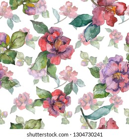 Red purple camelia botanical flower. Wild spring leaf isolated. Watercolor illustration set. Watercolour drawing fashion aquarelle. Seamless background pattern. Fabric wallpaper print texture.