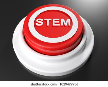 A red pushbutton with the write STEM in a circle on its top - 3D rendering illustration