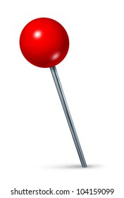Red pushpin as a navigation symbol of a travel location and position also an icon of business direction on a white background.