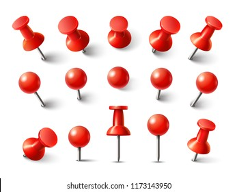 Red pushpin top view. Thumbtack for note attach collection. Realistic 3d push pins pinned in different angles isolated on white.  set