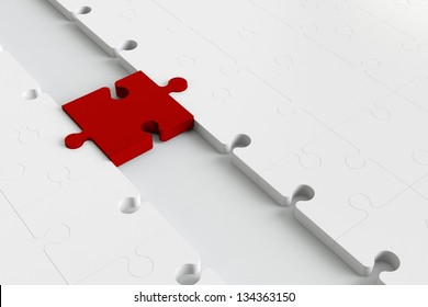 Red puzzle placed as a bridge to white parts