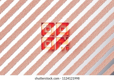 Red Qrcode Icon on the Gray Stripe Pattern. 3D Illustration of Red Barcode, Code, Qr, Qrcode, Quick Response, Scan Icon Set With Stripes Gray Background.