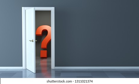 Red question mark behind the door ajar and empty wall - 3d rendering