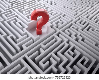 Red question mark inside the labyrinth maze, 3d illustration