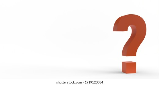 A red question mark isolated on a white background. 3d render.