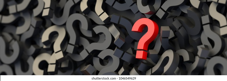 Red question mark on a background of black signs. 3D Rendering.