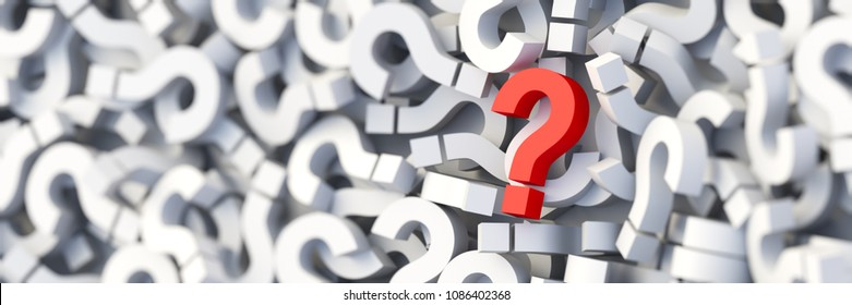 Red question mark on a background of white signs. 3D Rendering
