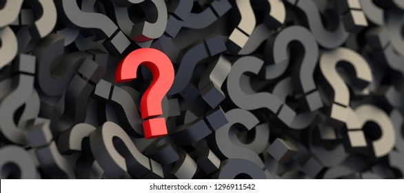 Red question mark on a background of black signs. 3D Rendering