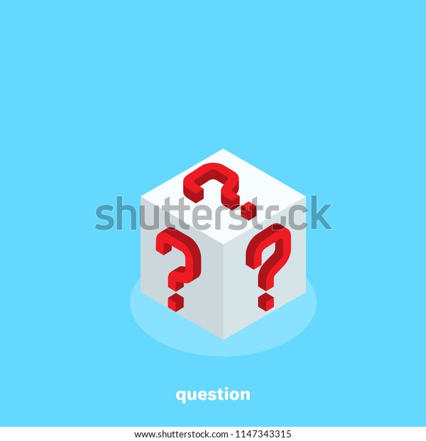 red question marks on the sides of the white cube, isometric image
