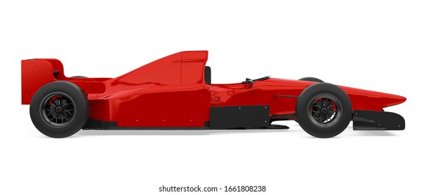 Red Racing Car Isolated (side view). 3D rendering