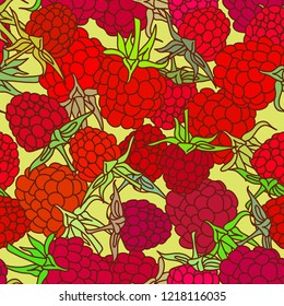 red raspberry with green leaves seamless pettern on isolated on yelow background for site, blog, fabric.