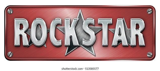 Red Realistic Chrome/metallic 'ROCKSTAR' text on a banner or metal plate (Not 3D Render)