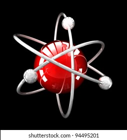 red reflective atomic structure  on black background