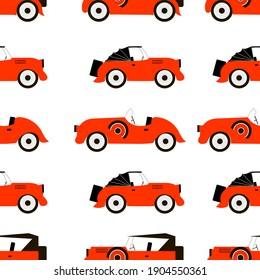 Red retro car, seamless pattern