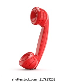 red retro phone isolated white background with clipping path