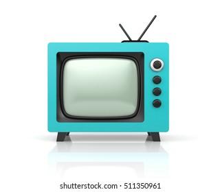 Red retro TV. 3d illustration