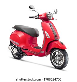 Red Retro Vintage Scooter Isolated on White Background. Modern Personal Transport. Classic Motor Scooter Side View. Electric Motorcycle with Step Through Frame. 3D Rendering