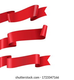 Red Ribbon Big Set Isolated